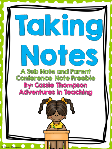 Parent Teacher Conference Notes