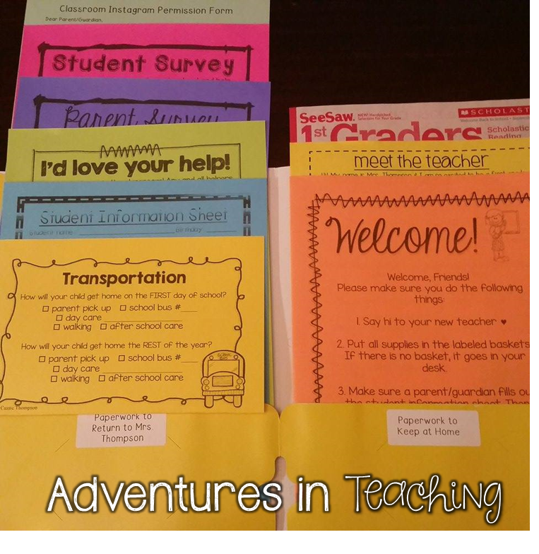 First Grade Classroom: Back to School Paperwork