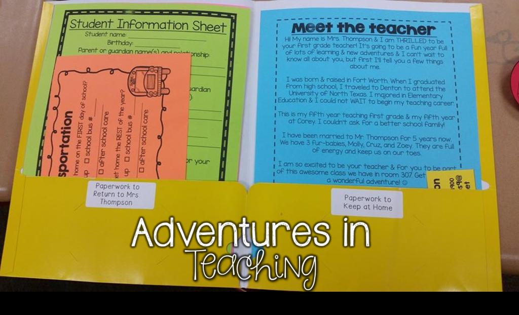 First Grade Classroom: Back to School Paperwork