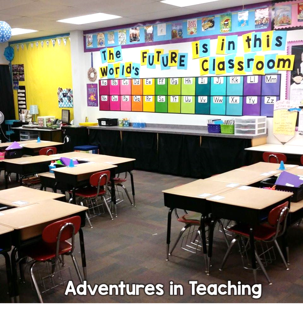 "Bright and colorful 1st grade classroom with desks in groups and a quote on the wall that says ""The world's future is in this classroom""."