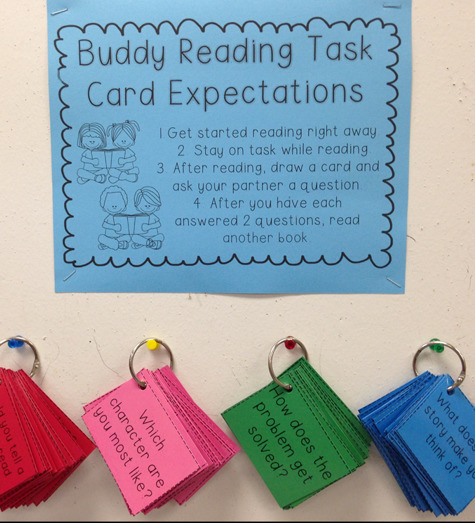 Instructions for buddy reading task card expectations and push pins with cards hanging on the wall.