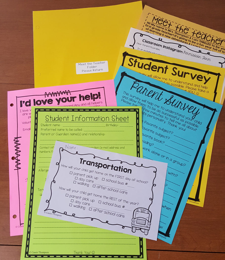Printed back to school forms on colorful paper.